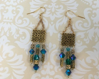 Swarovski Blue and Gold Earrings