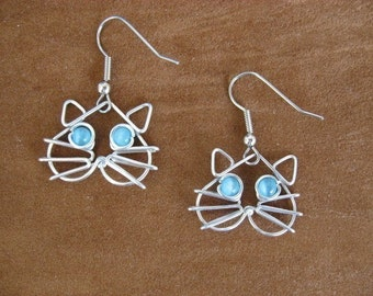 CAT EARRINGS, blue eyes, wirework