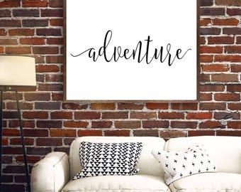 Adventure Wall Art, Adventure Printable, Adventure Print, Black White Cursive Design, Scripture, Gray Frames Digital Print & Home Wall Art