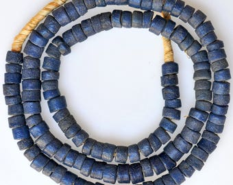 30 Inch Strand of Blue African Sand Cast Beads - Vintage African Trade Beads - PG260