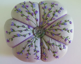 Extra Large Hand Embroidered Hand Beaded Pin Cushion