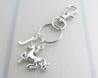 Unicorn Bag Charm, Personalised Initial Purse Clip, Silver Letter Handbag Charm, Fantasy Charm Zipper Pull, Unicorn Gift, Mythical Creature