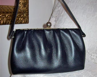 Vintage 1950s Ladies Navy Blue Handbag Purse w/ Brass Flip Lock Only 15 USD