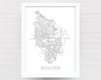 BOULDER COLORADO City Limit Map Print - Home Decor - Office Decor - Boulder Artwork - Poster - Wall Art - Boulder Gift - Colorado Gift