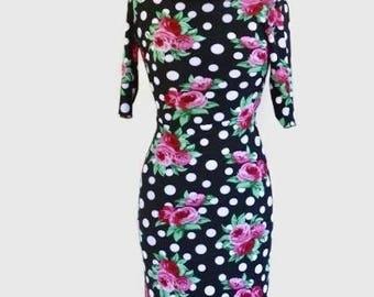 Italian Tango Dress: Flowers Polka Dot Dress With Sleeves by  RossaSpina