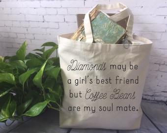 lustige Einkaufstasche/Kaffee-Liebhaber-Tragetasche / Kaffee-Liebhaber-Geschenk / Kaffee Benas sind meine Seele Mate