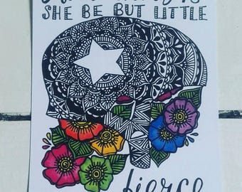 Jammer Postcard - And though she be but little, she is fierce - Shakespeare - Quote - Henna Mehndi Art - Mandala - Roller Derby - Feminism