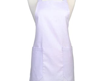 Womens Linen Apron Orchid Lavender Retro Kitchen Cooking Chef Vintage Style with Pockets and Adjustable Neck Ties