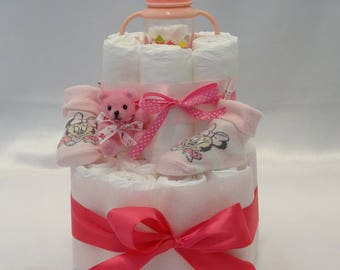 Two floors to adorable girl diaper cake