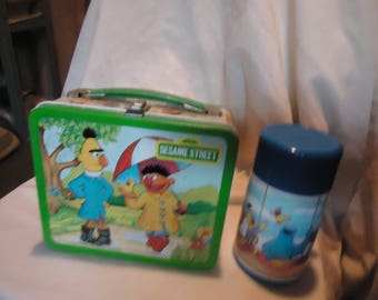 Vintage 1983 The Seasons of Sesame Street Metal Lunch Box With Thermos, Lunchkit, collectable