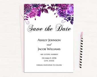 Purple save the date template Boho wedding Floral save our date printable Lavender wedding Digital download Diy save the date violet 1W38