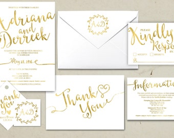 Wedding Invitation Printable, Kraft,Wedding Invitation Suite, RSVP, monogram, info card, hand lettered typography theme. Gold