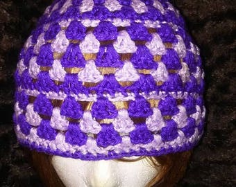 Purple and lavender crocheted beanie hat
