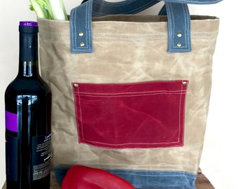 Medium Market Tote, waxed canvas