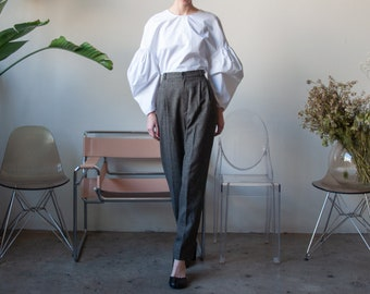 houndstooth pleated baggy trousers / plaid pants / baggy pants / US 10 / 28 waist / 3614t / B9