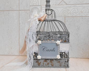 Gray Wedding Birdcage Card Holder | Wedding Card Box | Blush Wedding Decor | Wedding Decoration| Wedding Card Holder