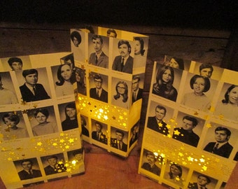 5 Yearbook Luminaries, Reunion Decor, Custom Made From Your Yearbook Pages, Decor for High School & College Reunions, Retro, Class Reunion