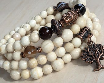 Mothers Day Gift, Tibetan Zen Mala 108, Mala Bead Agate 108, Wood Petrification, Mala Tree of Life, Arbol de la Vida, Yoga Bracelet 108 Bead