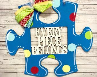 Autism door hanger, autism awareness door hanger, autism, autism speaks, door hanger, door decor, every piece belongs, puzzle piece, puzzle