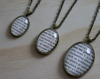 Dictionary pendant etsy masterpiece bronze dictionary definition pendant mozeypictures Gallery