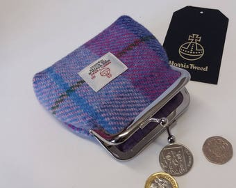 Harris Tweed Coin Purse / Handmade / Purple, Pink and Blue Checked