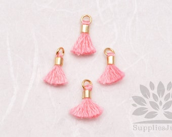 T010-PP// Pastel Pink Tiny 10mm Tassel, 6 pcs