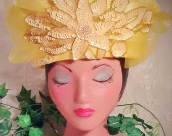 Vintage Lemon Yellow Crown-Style High Fashion Hat  Embellished with Huge Sequin Appliqué and Mesh Bow