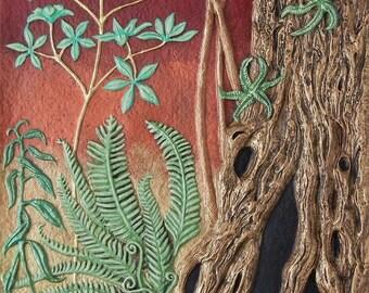 Back to Garden - Cast Paper - nature - tree - wall art - canvas - sunset - mushroom  - fantasy garden