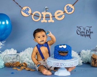 Cookie Monster High Chair Banner, Sesame Street Party,Cookie Monster Birthday, I am One,First Birthday Photo prop,cake smash