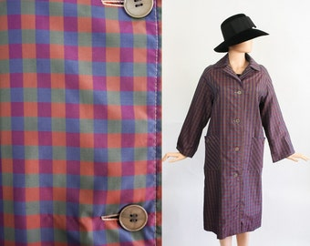 Vintage 50s Rain Jacket / 1950s Swing Spring Coat / Trapeze 60s Slicker / 1960s Raincoat / Lawrence of London / Plaid Print