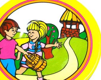 60's Tin Toy Tea plate, Jack & Jill storybook graphics. Nursery rhyme.