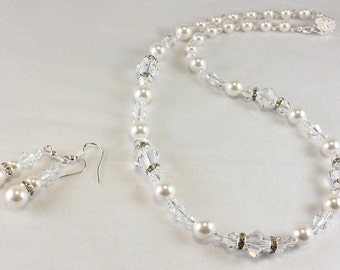 Pearl and Crystal Necklace and Earrings, Bridal Jewelry, June Birthday, Swarovski Crystals and Pearls