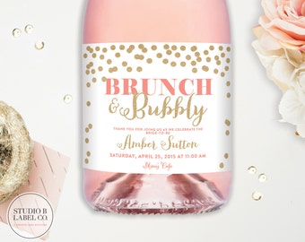 Bridal Shower Champagne Labels - Wedding Wine Labels - Brunch and Bubbly - Personalized Favor - Wedding Favor - Brunch Bridal Shower