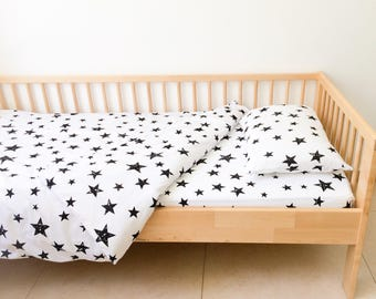 Stars Twin Sheets Set, Neutral Nursery Decor, Geometric Sheets, Kids Bedding,  Fitted