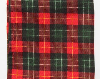Hankie Pocket Square Handkerchief Plaid Twill Red / Green Tartan Cotton UK Made