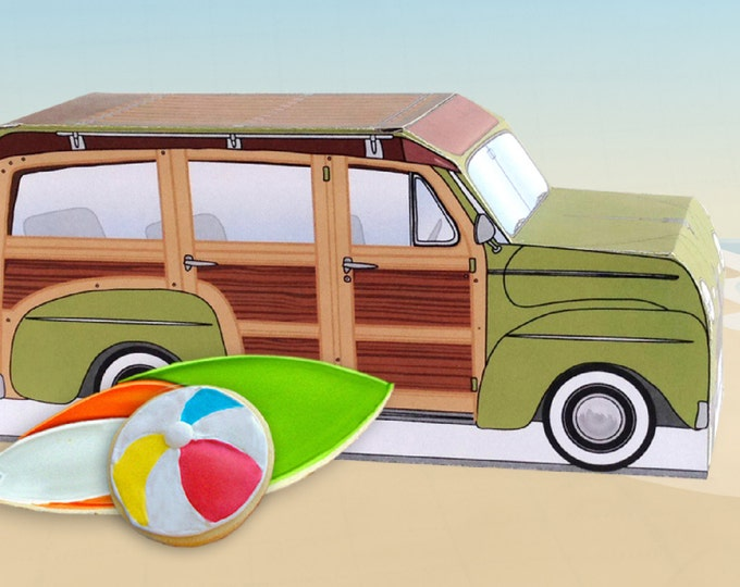 Green Retro Woodie Surfer Wagon Box - great as cupcake box, gift box or favor box - INSTANT Download DIY Printable PDF Kit