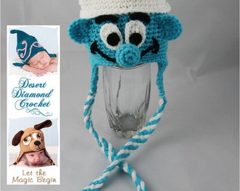 Crochet Pattern 057 - Boy Blue Gnome Beanie Hat - All Sizes