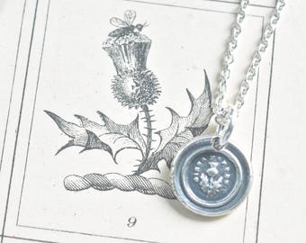 tiny wax seal necklace - Scottish thistle wax seal pendant - dinna forget outlander jewelry - silver antique forget me not wax seal jewelry