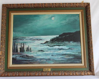 Vintage Original Oil Painting Coastal By Helen Langford