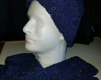 Knit Tweed Winter Hat and matching fingerless mitts/gloves
