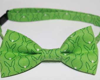 Easter Bow Tie, Bunny Bow Tie, Rabbit Bow Tie, Green Bow Tie, boy bow tie, baby bow tie, kids bow tie, men's bow tie, wedding bow tie