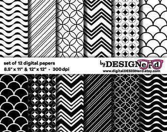 Digital Scrapbook Paper - Black & White Collection 3 (8.5x11 / 12x12) Dots Stripes Chevron Bold Printable Background Retro Geometric Vintage