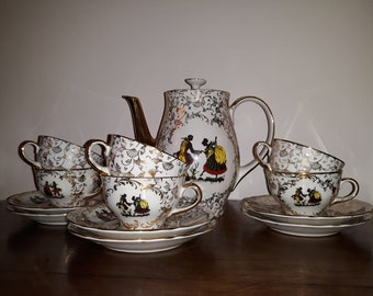RICHARD GINORI Coffee Service for 6 porcelain-gold decors-Vintage