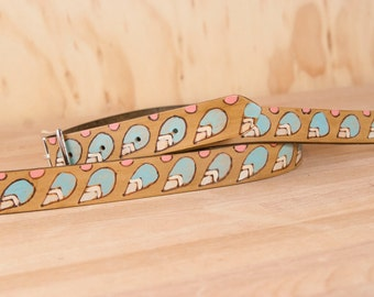 Mandolin Strap - Leather in the Petal pattern with modern flowers and leaves - Sage, pink, white, silver and antique brown