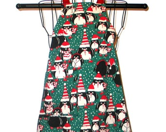 Child's Apron Penguins Ages 3 thru 7 Reversible Adjustable