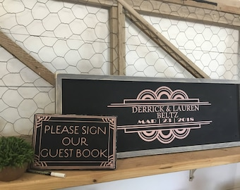 Art Deco Wedding Guest Book - Alternative Wedding Wood Guest Book - Rose Gold Wood Wedding Sign - Great Gatsby Theme Wedding - Art Deco Sign