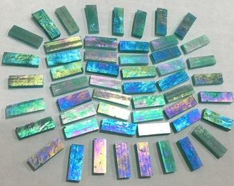 IRIDIZED AQUA BlueGreen Translucent Stained Glass Mosaic Tile J1