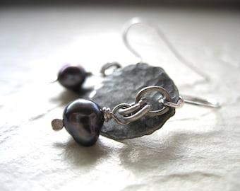 Pearl Earrings, Handmade Peacock Pearl Earrings, Pearl Dangle Drop Earrings, Metalwork Earrings, Pearl Jewelry, Peacock Pearl earrings