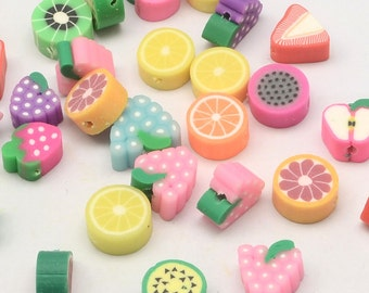 Bulk Beads Fruit Beads Polymer Clay Fruit Beads Assorted Beads 50 pieces Wholesale Beads