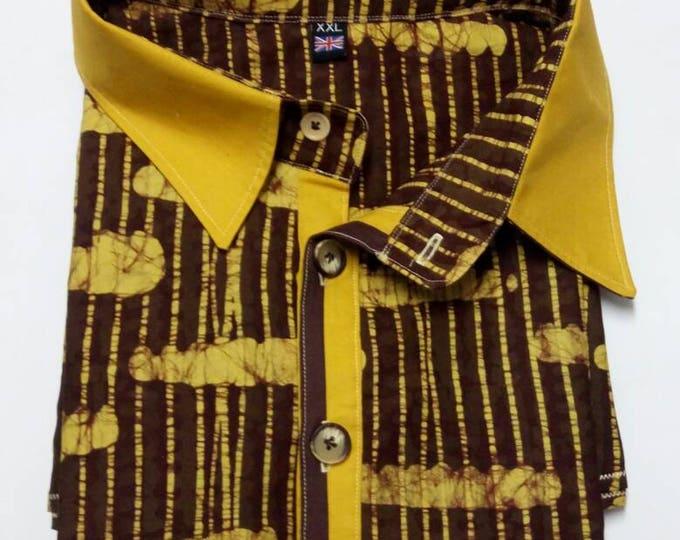Coffee Brown Batik Shirt, Mens African Clothing, Short Sleeve Batik Top